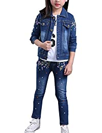 Vividda El dril de algodón niñas juego determinado de la chaqueta de mezclilla y jeans con bordados de flores 7-12 años