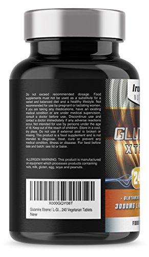 41M7VzxfxXL - Glutamine Xtreme   L-Glutamine 500mg x 240 Tablets   Highest Quality GLUTAMINE - Sports Supplement   240 Vegetarian Tablets Manufacturer: Iron Labs Nutrition