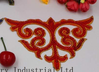 Vintage Metallic Trim (Astonish YACKALASI 5 PC/Los Blumen-3D Sequined Appliqued Patches Metallic Venise Cosplay Trim Eisen auf Vintage-11 * 16CM: Red)