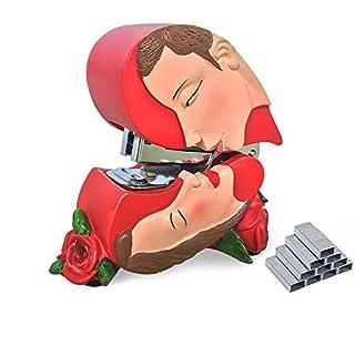 Giftgarden Heftgerät Mini Heftmaschine Rosa Dekoration Wohnung modern auf dem Tisch lustiges Design mit Heftklammern Geschenk für Männer oder Frauen