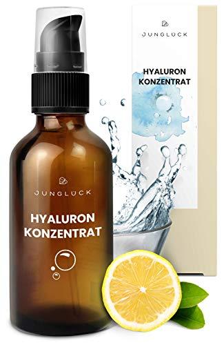 Junglück veganes Hyaluronsäure Konzentrat in Braunglas - hochdosiertes Hyaluron Serum - Anti-Aging Feuchtigkeitspflege Gel - natürliche & nachhaltige Kosmetik made in Germany - 50ml