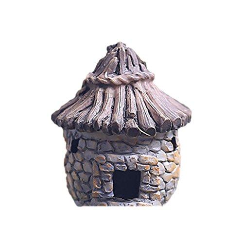 Omkuwl Fairy Cottage Landscape Decor Ornamento del jardín de la casa de la resina Ladrillo gris