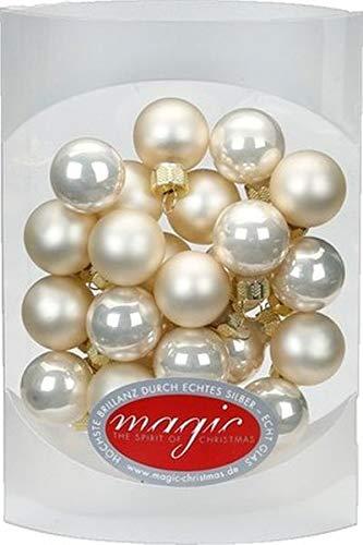 Magic 25 Stk. Weihnachtskugel 2cm Glas Weihnachtsschmuck Weihnachtsdeko Deko Box, Farbe: Champagner Glanz/Matt