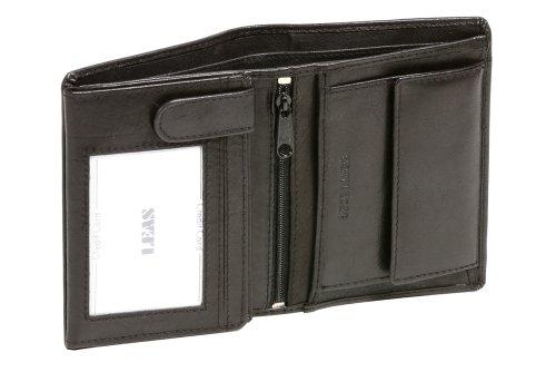 9 Schwarz Leder (Geldbörse Herren mit RFID Schutz kompakt LEAS, Herren Geldbeutel flach RFID Folie in Echt-Leder, Portmonee im Hochformat, schwarz)