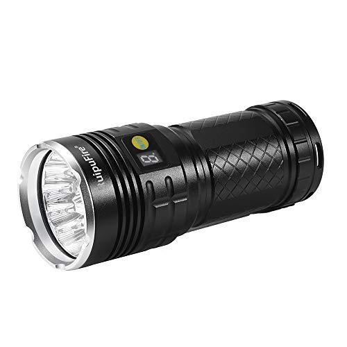 Lonshell Portátil Linterna,Número Pantalla Flashlight De Caza,XM-L T6 LED Potencia y Modo de Visualización Digital Monitor,Indicador De Batería Restante RuipuFire Linterna(Baterías No Incluidas) (45000lúmenes)