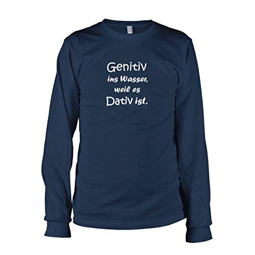 TEXLAB - Genitiv ins Wasser - Langarm T-Shirt Dunkelblau