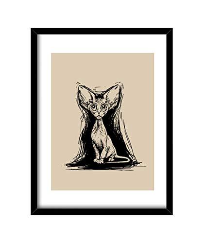 Cuadro gato egipcio. Cuadro con marco vertical (3:4), negro. Impresión de alta calidad enmarcada y lista para colgar. Cuadro de formato vertical 3:4, disponible en varias medidas y enmarcado con vidrio. Marco con moldura negra de 2x2cm, elaborado a m...