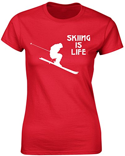 Skiing is Life Sports game stunt Women T shirt Hobby Sports gym Athletics - Black, Navy, Red Colour Ladies Tshirt