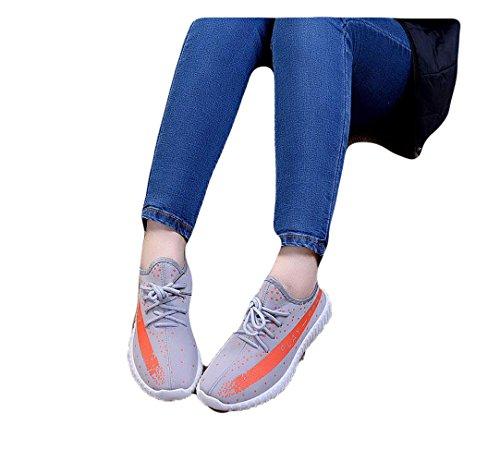 Ein Bißchen Unisex-Erwachsene Mode Fashion Atmungsaktive Outdoor Fitnessschuhe Sportschuhe grau-orange-a