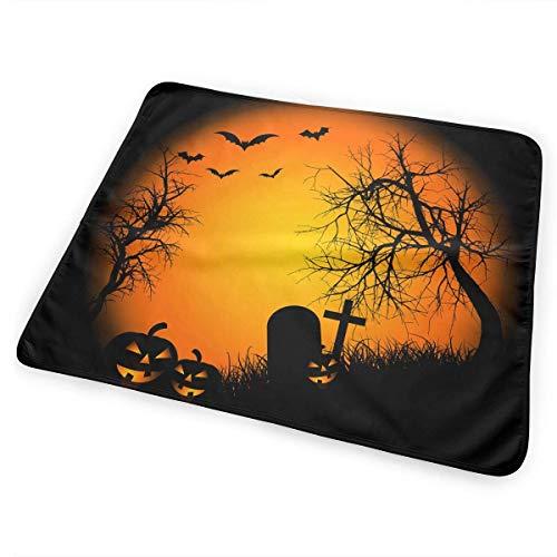 Voxpkrs Weiche Windelkissen Saugfähige waschbare Matratze Happy Halloween Bat Pumpkin(65x80cm)