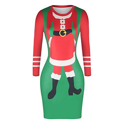 TWBB Damen Weihnachtsmann Kostüm Kleider Langarm Festlich Cocktailkleid Abendkleid Kleider Winter Sweatshirt