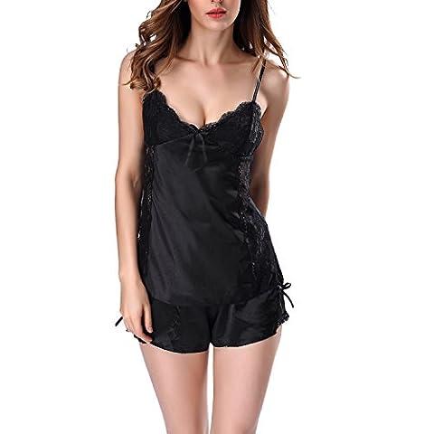 VEENE Women Stain Short Lingerie Lace Cami Sets Pyjama Vêtements de nuit