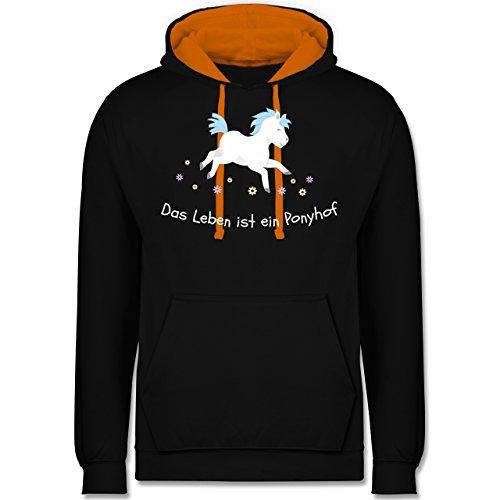 Pferde - Das Leben ist ein Ponyhof - Kontrast Hoodie Schwarz/Orange