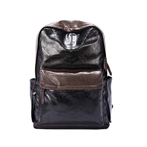 (Yslin Business Rucksack Herren Groß Backpack Daily Casual Schulrucksack Wasserdicht Rucksäcke Laptop PU Leder Laptoprucksack 14 Zoll (Schwarz))