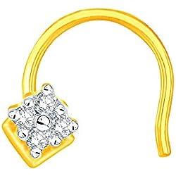 Sangini 18k (750) Yellow Gold and Diamond Nosepin