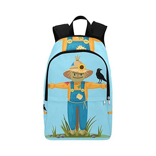 Happy Smilling Vogelscheuche Hut Shirt Schwarz Casual Daypack Reisetasche College School Rucksack für Herren und Frauen