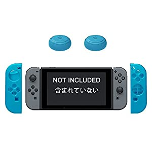2 thumb stick caps & 1 Pair TopACE Silicon Case Gamepad Protective Cover Skin for Nintendo Switch Joy-Cons Left & Right Controllers