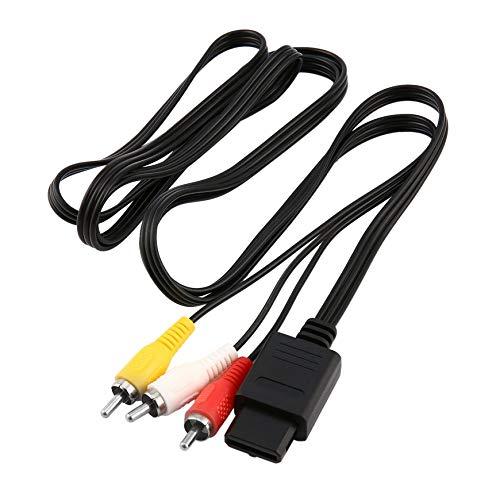 Pudincoco Für SNES SUPER Nintendo N64 Gamecube AV Cinch Audio Video Kabel TV-Konsole (Schwarz)
