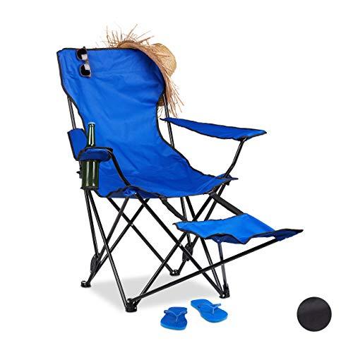 Relaxdays Campingstuhl mit Fußablage, faltbarer Anglerstuhl mit Getränkehalter & Armlehnen, Tragetasche, 120 kg, blau - Klapp Strand Camping Stuhl