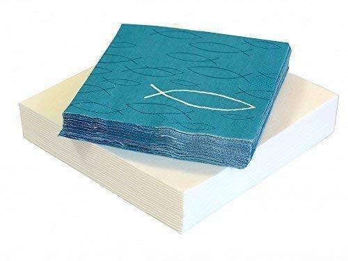 Servietten Kommunion Konfirmation Fisch Petrol Weiß Tischdeko SET 20+20 Stück, Farbe:Weiß