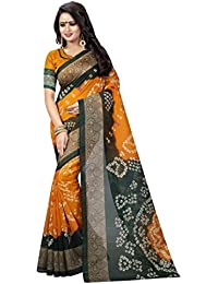 Kanchan Textiles Women's Art Silk Cotton Blend Saree With Blouse Piece (KSH_ BANDHANI 12, Multicolour, Free Size)