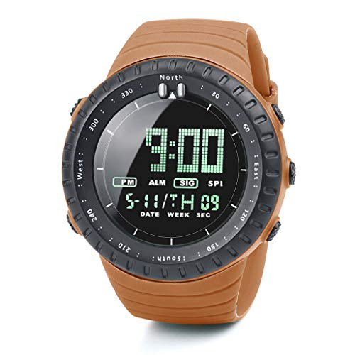 Haludock Herren Outdoor Sports Digital Watch5 Bars Wasserdicht Militär Digitaluhren Shock Resistant Round Dial Case LED (Loop Strap Band G-shock Watch)