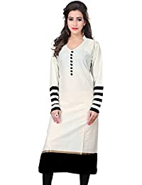 Varibha® Women's White & Black Casual Wear Cotton Kurti