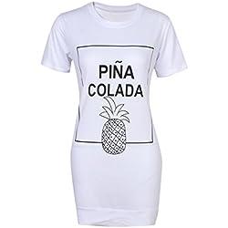 Ydncmgga Vestido de la Mujer de la impresión de la piña rebordeó los Vestidos de la Camiseta del o-Cuello (Color : White, Size : XL)