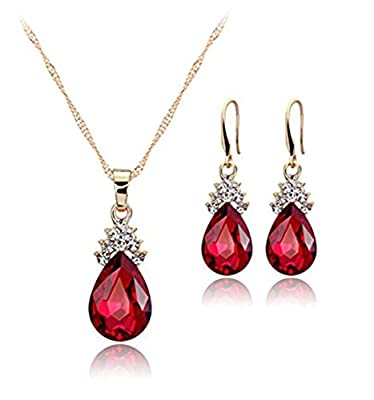 Hosaire Necklace Earrings Diamond Water droplets Elegant Women Jewellery Set of Crystal Pendant Necklace+Earrings : everything five pounds (or less!)