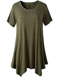 FAMILIZO Camisetas Mujer Verano Blusa Mujer Elegante Camisetas Mujer Largas Manga Corta Algodón Camisetas Mujer Fiesta