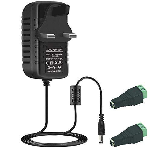 AC auf DC 12 V 3 A Netzteil-Adapter, Eingang 100 V-240 V, 5,5 x 2,1 mm Umschaltung für CCTV Kamera DVR NVR SMD 3528/5050 LED-Lichtleiste, UK-Stecker Polarität Schutz