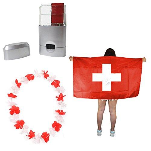 Sonia Originelli Fan-Paket-11 WM EM Fußball Fan Hawaiikette Schminkstift Poncho Farbe Schweiz