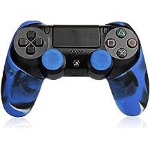 TurnRaise Funda Silicona Protectora para Mando Consola de PS4 ,Funda para PS4 Controlador con 2 Thumb Grip (Azul)