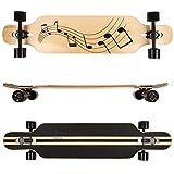 FunTomia® Longboard Skateboard Drop Through Cruiser Komplettboard mit Mach1® ABEC-11 High Speed Kugellager T-Tool mit und ohne LED Rollen (Modell Freerider Ahornholz - Farbe Musik)