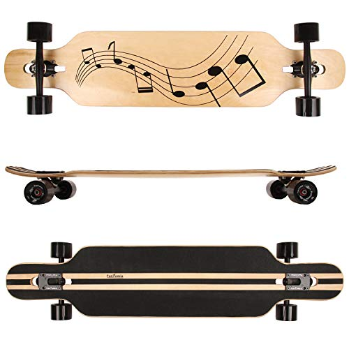 FunTomia® Longboard Skateboard Drop Through Cruiser Komplettboard mit Mach1® ABEC-11 High Speed Kugellager T-Tool mit und ohne LED Rollen (Modell Freerider Ahornholz - Farbe Musik)