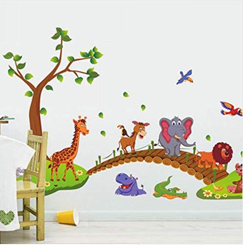HWJ Wandtattoos Baumcartoon-Dschungel-Tier-Brücke Wandsticker Mädchen Wandaufkleber Schmetterling (Brücke Kuchen)