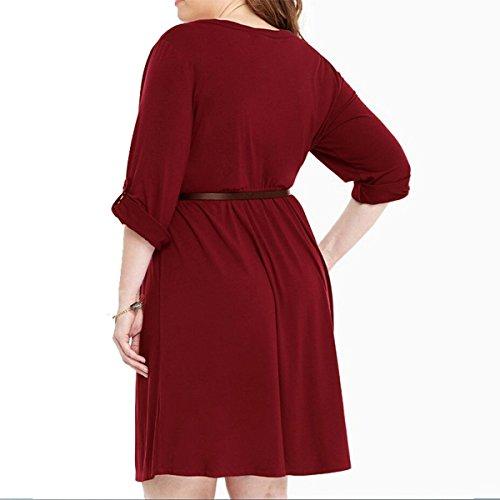 DD UP Mode Tunique Femme Mini Robe casual à Manches courtes Oui Ceinture Red Wine