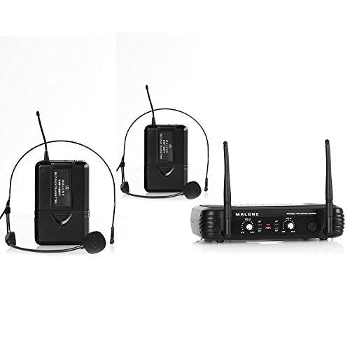Malone UHF-250 Duo 2 • 2-Kanal UHF-Funkmikrofon Set • Funk-Mikrofon System • 2 x kabelloses Headset-Mikrofon • Frequenzband: 823 - 832 MHz • LED • lange Betriebszeiten • 2 x XLR- und 1 x Klinken-Ausgang • Stabantennen • Lautstärkeregler • schwarz (Mikrofon Headset, Xlr)