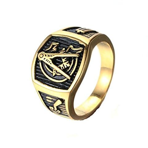 BeyDoDo Modeschmuck Edelstahlring Ring Edelstahl für Herren Freimaurer Herrenring Ring Gold Ringgröße 70 (22.3)