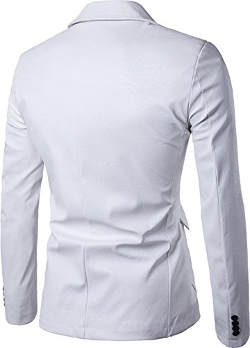 Sportides Herren Sakkos Faux Leather Fashion Slim Fit One Button Blazer Jacket JZA004 White