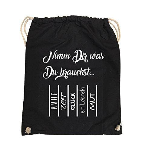 Comedy Bags - Nimm Dir was Du brauchst - ABREIßZETTEL - Turnbeutel - 37x46cm - Farbe: Schwarz / Pink Schwarz / Weiss