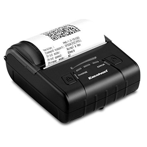 Excelvan E300 - Impresora Térmica de Recibos y Billetes (Bluetooth Inalámbrica, Portátil, Usb, 90Mm/seg, 80mm, ESC/POS, para Pos Terminal Punto de Venta),