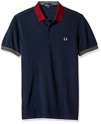 Fred Perry Herren Colour Block Pique Polo Shirt Blau Blau