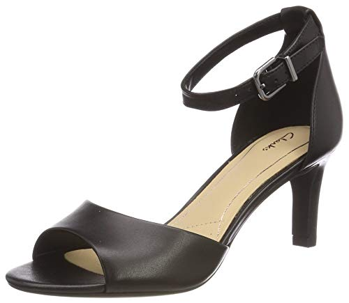 Clarks Laureti Grace, Scarpe con Cinturino alla Caviglia Donna, Nero (Black Leather-), 39.5 EU