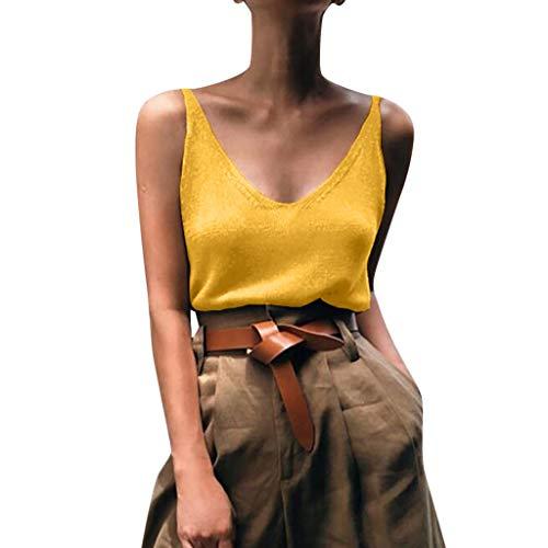DressLksnf Damen Rückenfrei Tank-Top V-Ausschnitt Weichem Strickunterhemd Lässige Oberteile Slim Fit Pure Color ärmelloses Hemd T-Shirt Bluse Bauchfreie Oberteile Lose Sommertop -