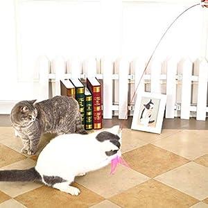 Zaote Funny Cat bâton Baguette de Plumes de lumière Laser Jouet lumière Fil Chaser Baguette d'entraînement Jouets