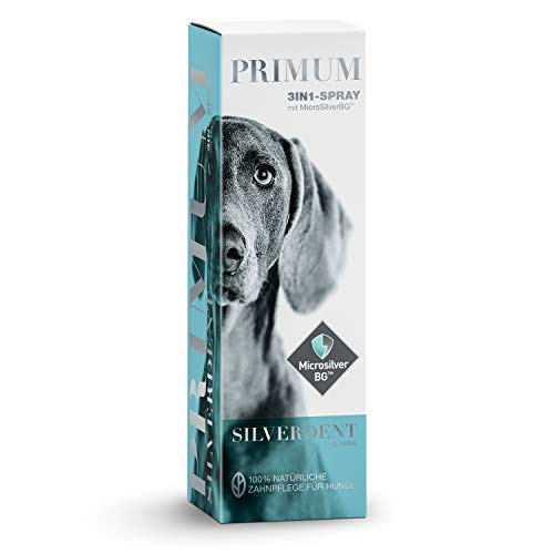 Primum | SilverDent 3in1 | Spray 75ml | 100% natürliche Zahnpflege für Hund und Katze | Gegen Zahnstein, Karies und Zahnfleischentzündungen | Schützt vor Bakterien | Gegen unangenehmen Mundgeruch -