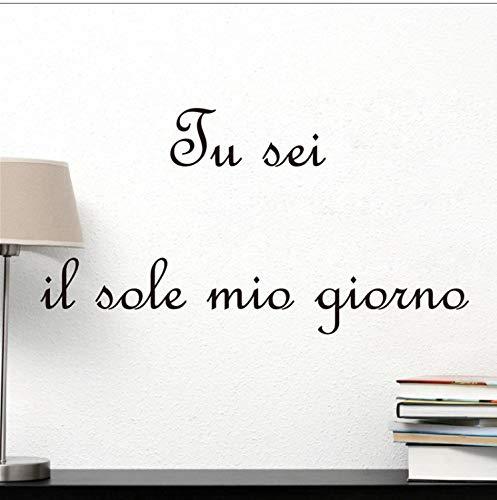 Italienische Schlafzimmer Dekor (captain_y Wandsticker Tu Sei Il Sole Mio Giorno Italienischen Stil Vinyl Wand Kunst Aufkleber Zitat, Italienische Kinder Schlafzimmer Vinyl Wandaufkleber Kunst Dekor 118X40 cm)