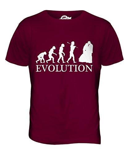 CandyMix Hochzeitsfeier Hochzeit Evolution Des Menschen Herren T Shirt Burgunderrot