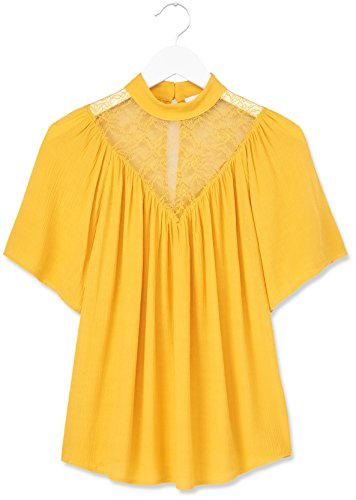 FIND Lace Yoke, Blouse Femme Orange (Mango)